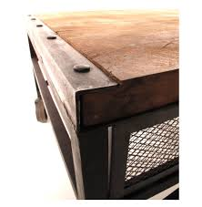 tribeca industrial mesh drawer caster wheel coffee table kathy