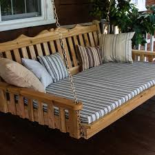 Porch Swing With Cushions A U0026l Furniture Royal English 4 Foot Cedar Outdoor Swing Bed With