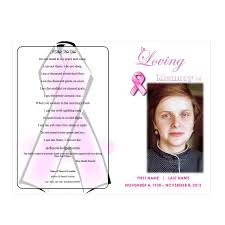 Funeral Ceremony Program Pink Ribbon Memorial Program Funeral Pamphlets