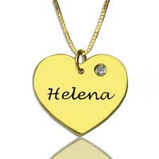 Jewelry With Names Heart Necklace With Name U0026 Birhtstone 18k Gold Plated