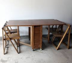 Folding Table With Chairs Stored Inside Captivating Drop Leaf Table And Chair Set Drop Leaf Table With