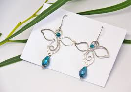 silver color earrings peacock green wire dangle drop bridal