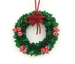 wreath ornament green with bows