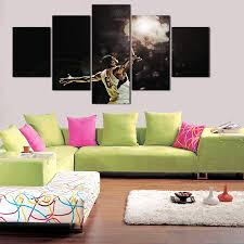 aliexpress com buy 5 piece canvas art painting basketball star
