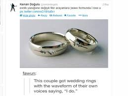rings pictures weddings images Wedding rings with voice waves latest wedding ring trend voice jpg