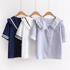 sailor blouse mori ruffles sailor collar blouse sleeve