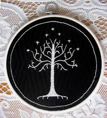 embroidered white tree of gondor needlework