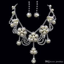 wedding necklace bridal images Luxury pearl crystal flower pendant necklace earrings bridal jpg