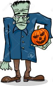 cartoon illustration of spooky halloween zombie with pumpkin