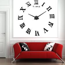 home decor 3d stickers mq 004 large wall clock 3d mirror sticker metal big watches