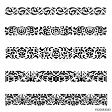 traditional design line border pattern asian traditional art design vector set thai