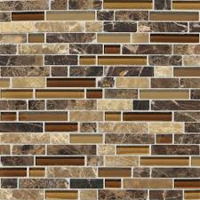 Kitchen Backsplash Mosaic Tile Daltile Stone Radiance Butternut Emperador 11 3 4 In X 12 1 2 In