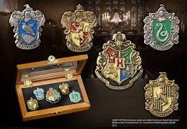 official harry potter hogwarts house crest pin badge set