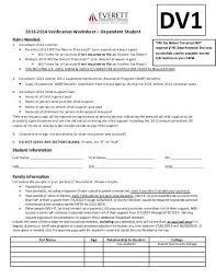 printables verification worksheet dependent student ronleyba