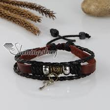 charm bracelet leather images Adjustable key genuine leather charm bracelets unisex wholesale jpg
