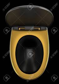 Top View Of Black Toilet Bowl Isolated On Black Background Stock