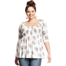 baby doll blouses lyst rag plus size three quarter sleeve floral print
