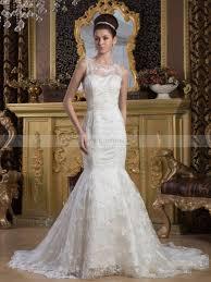 lace over satin sleeveless mermaid wedding dress with delicate beading