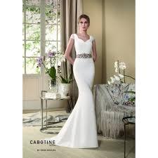 wedding dress with cabotine orquidea crepe wedding dress with lace cap sleeve