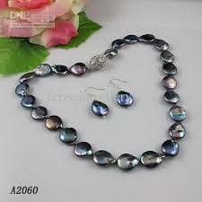 elegant black necklace images 2018 elegant coin pearl jewelry set black natural coin pearl jpg
