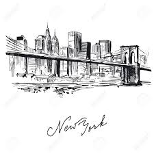 drawn building new york skyline pencil and in color drawn
