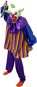 killer clown costume scary horror it striped killer clown