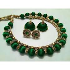 green necklace set images Green and golden silk thread necklace set rs 750 set id jpg