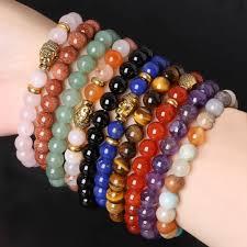 bead bracelet stone images Pulseras mujer 8mm stone beads bracelets gold buddha beads jpg