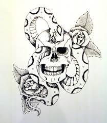 skull snake and roses by of on deviantart