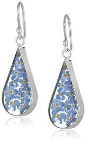 blue earrings sterling silver blue pressed flower teardrop earrings