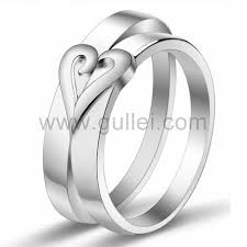 couples wedding rings two half hearts engagement rings for couples