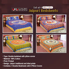 Cotton Single Bed Sheets Online India Buy Pack Of 4 Jaipuri Bedsheets 4ddbs2 Online At Best Price In