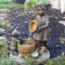 and pig sclupture mixed fake wooden water fountain of
