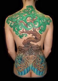 symbolic coloured tree on back tattoos book