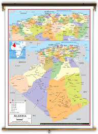 algeria map algeria political educational wall map from academia maps