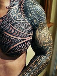 tribal arm shoulder chest tattoos family