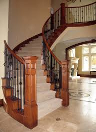 orleans spiral quality wood stairs turned posts wrought iron and