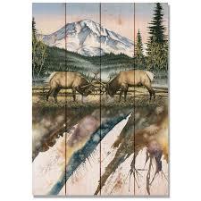 artwork on wood elk challenge artwork on wood planks upscale consignment