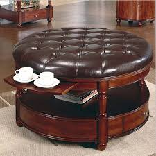 coffee table exciting leather round ottoman large roseville with