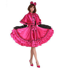 Cross Dressing Halloween Costume Sissy Maid 5 Pieces Rose Red Dress Vintage Crossdressing Cosply