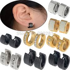 hoop huggie discount wholesale fashion jewelry stainless steel men black