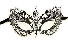 lace mask venetian style black metal filigree lace mask