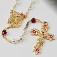 white rosary our of lourdes rosary gold plated white bohemian glass