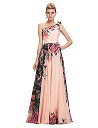 amazon com grace karin floral print graceful chiffon prom dress