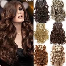 new hair 7pcs set clip in hair extension curly synthetic hair