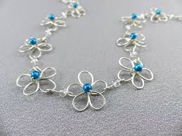 flower necklace etsy images Wire work flower necklace handmade with by wireexpressions on zibbet jpg