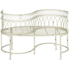 White Metal Patio Furniture - safavieh lara kissing 44 in 2 person antique white metal outdoor