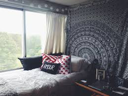 How To Hang Curtains Around Bed by Boho Chic Dorm With Beautiful Wall Tapestry Colorful Pillows