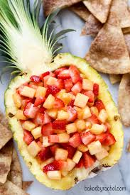 strawberry pineapple fruit salsa baked by rachel