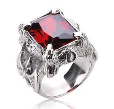 red stones rings images Real 925 sterling silver ring big heavy mens rings red gem punk jpg
